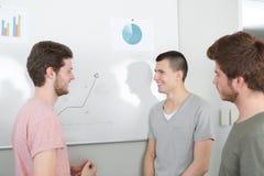 Studentenzeichnungsdiagramm auf Flip-Chart Brett stockbilder