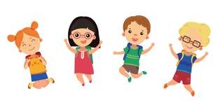 Studenter går till skolan Lyckliga barn i ett hopp Pojkar och flickor med ryggsäckar joyful ungar children illustration stock illustrationer