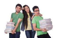 Studenter med böcker Royaltyfri Fotografi
