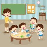 Studenter och lärare i händelserummet stock illustrationer