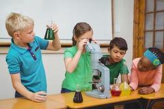 Studenter som använder vetenskapsdryckeskärlar och ett mikroskop Royaltyfri Bild