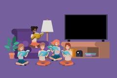 Studenter som sitter i livingroomläseboken royaltyfri illustrationer