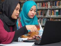 Studenter som studerar i ett arkiv royaltyfri fotografi