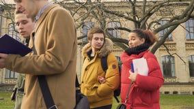 Studenter som vänner talar om examina som går på, parkerar nära universitet stock video