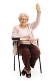 Studentessa anziana con la sua mano su Fotografia Stock