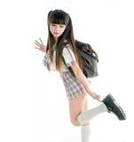 Studentessa asiatica sexy in uniforme scolastico Immagini Stock Libere da Diritti