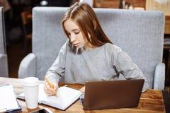 Studentessa attraente che prepara per l'esame che impara nuove informazioni Fotografia Stock
