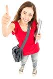 Studentessa che dà i pollici su Immagine Stock Libera da Diritti