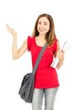 Studentessa che presenta lo spazio della copia Fotografia Stock Libera da Diritti