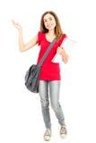 Studentessa che presenta lo spazio della copia Fotografia Stock
