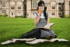 Studentessa che studia all'aperto 1 Immagine Stock Libera da Diritti