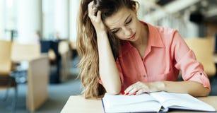 Studentessa che studia nella biblioteca Immagini Stock