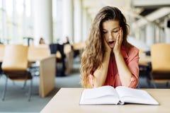 Studentessa che studia nella biblioteca Fotografie Stock