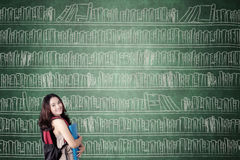 Studentessa con i libri sulla lavagna Immagini Stock Libere da Diritti