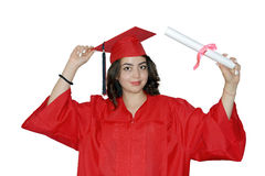 Studentessa con il diploma Fotografia Stock Libera da Diritti