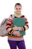 Studentessa con il dispositivo di piegatura e lo zaino Immagine Stock Libera da Diritti