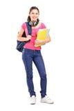 Studentessa con le cuffie Immagine Stock