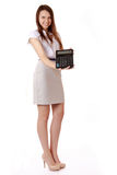 Studentessa con un calcolatore a disposizione. Scolara di risata SH Immagini Stock
