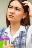 Studentessa And Confusion della preparazione Fotografia Stock Libera da Diritti