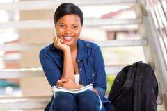 Studentessa di college africana Fotografia Stock