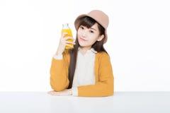 Studentessa e la suoi frutta e latte Fotografia Stock