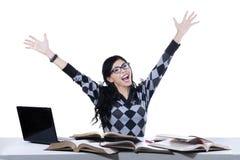 Studentessa emozionante isolata Fotografia Stock