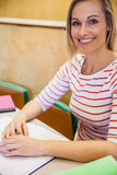 studentessa felice che lavora nella classe Fotografia Stock