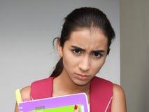 Studentessa graziosa infelice Fotografia Stock