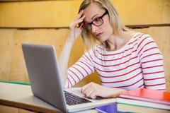 Studentessa occupata che lavora al computer portatile Fotografie Stock