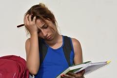 Studentessa teenager confusa sollecitata Fotografia Stock
