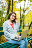 studentesse che lavorano al computer portatile nel parco di autunno Immagine Stock Libera da Diritti