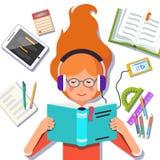 Studentflicka som ner ligger och läser en bok vektor illustrationer