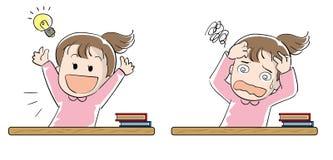 Studentflickauppsättning - prestation och frustration royaltyfri illustrationer