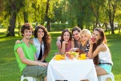 Studenti adolescenti che hanno un pasto di rilassamento all'aperto Fotografia Stock