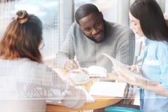 Studenti astuti che si consultano Immagine Stock