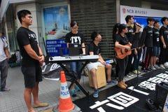 Studenti che cantano evento per la memorizzazione delle proteste della piazza Tiananmen della Cina di 1989 Fotografie Stock Libere da Diritti