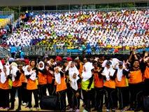 Studenti che celebrano Hari Merdeka Fotografia Stock