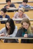 Studenti che imparano in un corridoio di conferenza con una ragazza che per mezzo del pc della compressa Immagini Stock Libere da Diritti