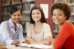 2 studenti che lavorano nella biblioteca con l'insegnante Immagini Stock