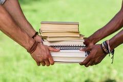 Studenti che tengono mucchio dei libri in parco Immagini Stock