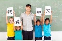 Studenti cinesi dell'insegnante Immagine Stock Libera da Diritti