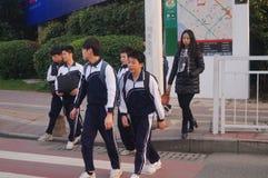 Studenti cinesi della scuola secondaria Fotografie Stock