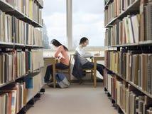 Studenti di college che fanno compito in biblioteca Fotografia Stock