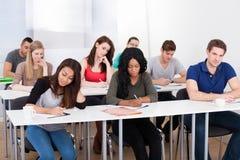 Studenti di college che scrivono allo scrittorio Fotografia Stock Libera da Diritti