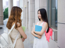 Studenti di college femminili asiatici Immagine Stock Libera da Diritti