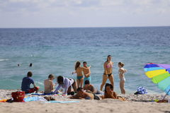 Studenti di college sulla rottura di primavera della spiaggia del Fort Lauderdale 2017 Fotografie Stock