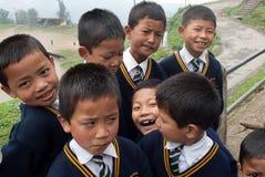 Studenti di Lepcha alla scuola Fotografie Stock