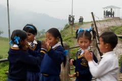 Studenti di Lepcha alla scuola Immagini Stock Libere da Diritti