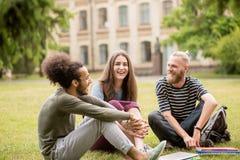 Studenti di risata felici al giardino dell'università Fotografia Stock