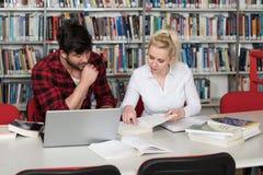 Studenti felici che lavorano con il computer portatile in biblioteca Immagine Stock Libera da Diritti